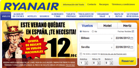 ryanair marketing inconveniente
