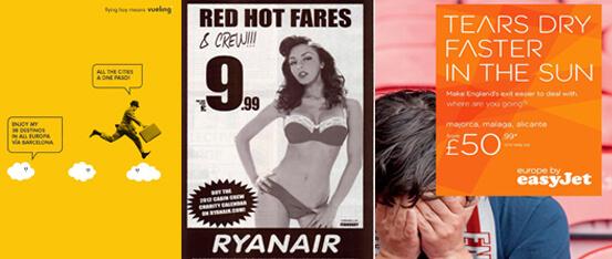 anuncios lineas áereas Vueling ryanair e EasyJet