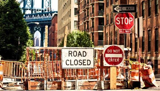 calle de NY cerrada por obras