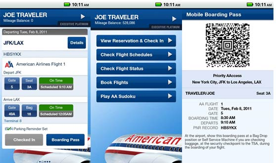 interfaces del app de american airlines