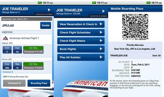 interfaces del app de american airlines