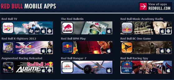 interfaz con las aplicaciones para smartphone de Red Bull