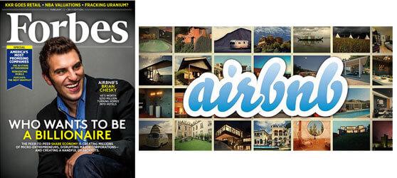 Fundador Airbnb Brian Chesky Portada Forbes 11 febrero 2013 y logo web