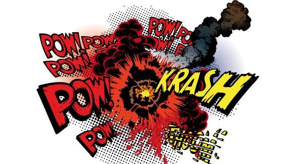 Explosión formato comic tipo Lichtenstein