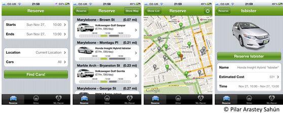 vistas de varias capturas de pantalla de la aplicación de Zipcar