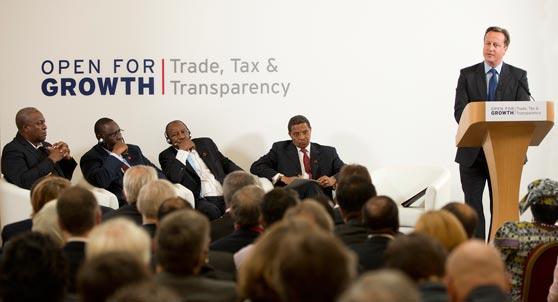 Cumbre del G8 2013 presidida por David Cameron baajo el lema Trde Tax & Transparency