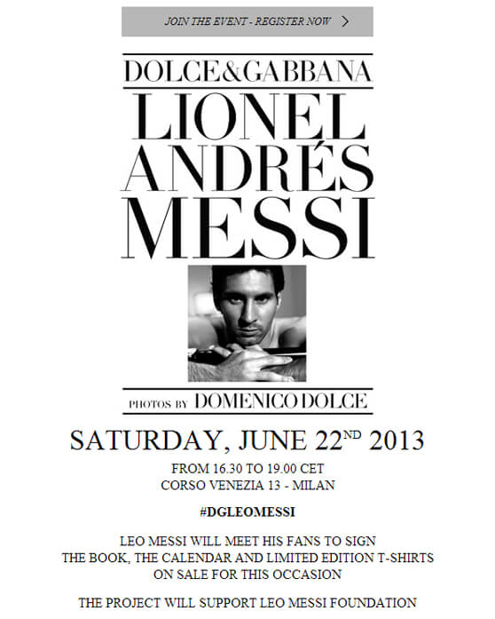 Messi Dolce & Gabbana cartel evento MILAN 22 junio 2013