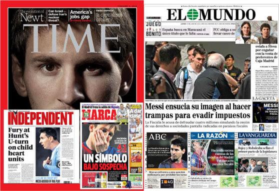 Portadas de diarios con Messi evasor fiscal Messi tax dodger