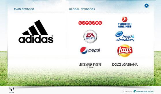 Marcas patrocinadoras de Messi según su web personal