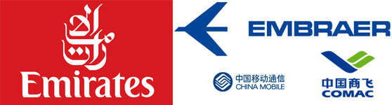 logotipos de las marcas Emirates China Mobile Emabraer Comac