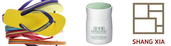 logotipos y productos de las marcas Hawaianas Herborist Shang Xia