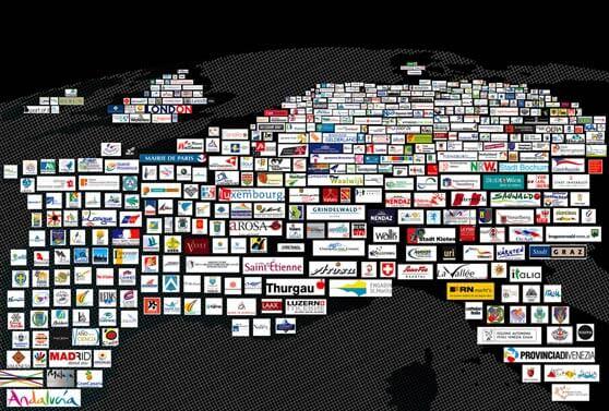 Mapa de Europa y sus marcas lugar