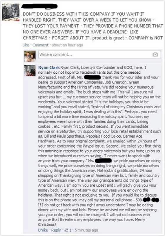 Respuesta posteada en Facebook de Ryan Clark a una clienta enfurecida