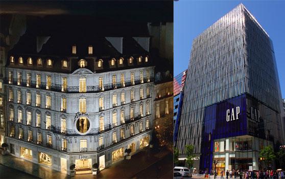 Tienda insignia de Dior Paris y Flagship Gap en Ginza
