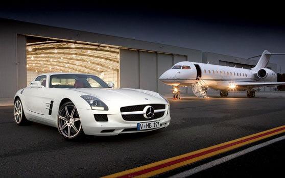 Mercedes sls y jet privado de súper lujo