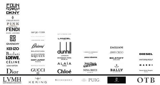 logotipos de marcas de lujo muy conocidas y famosas
