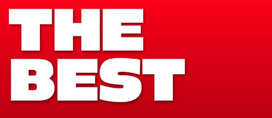 THE BEST en letras grandes blancas con fondo rojo