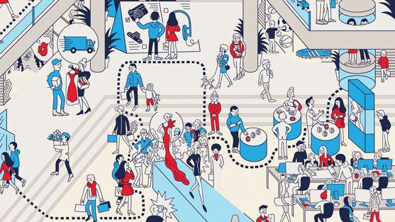 Experiencia de cliente en tienda dibujo de Tomi Um