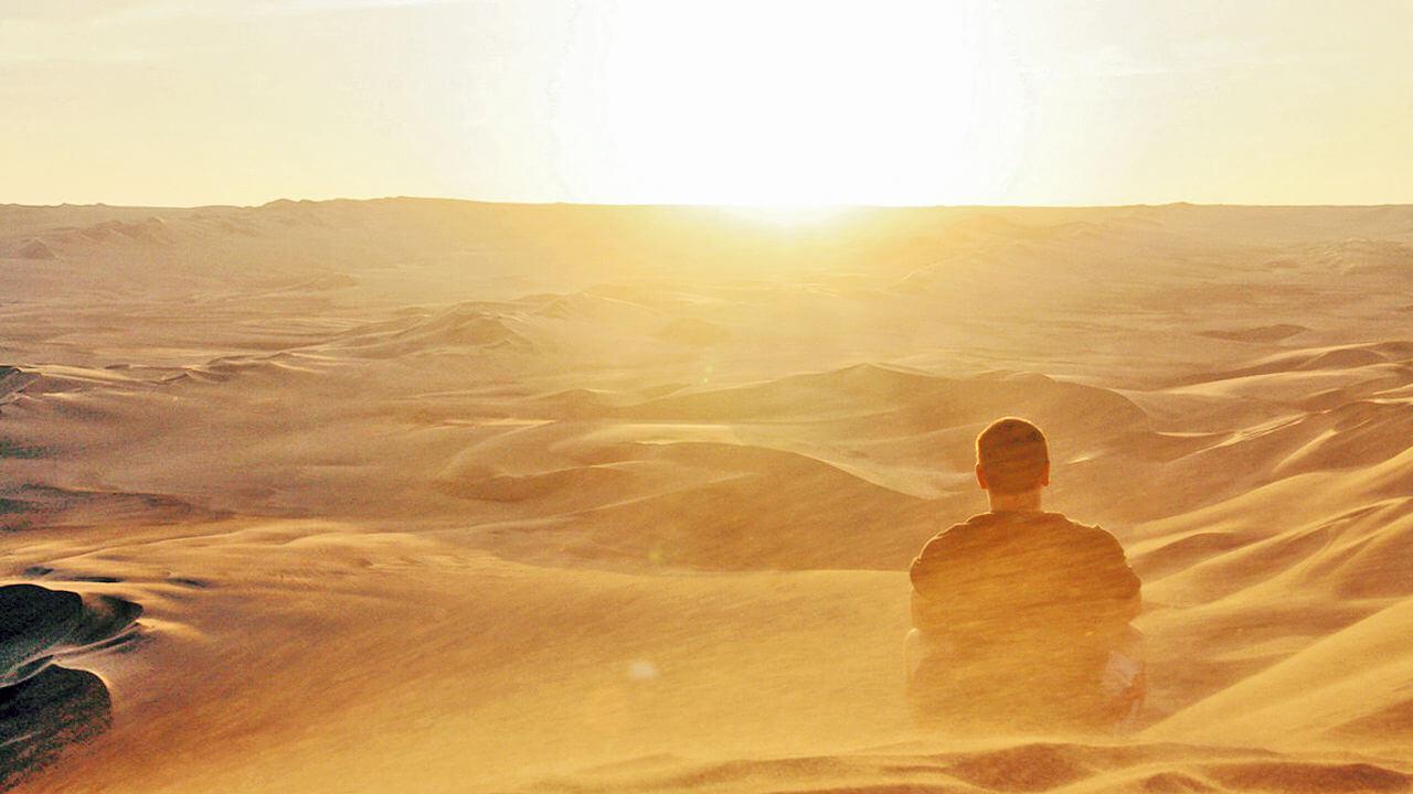 Persona sentada de espaldas a la cámara contemplando un halo en el desierto