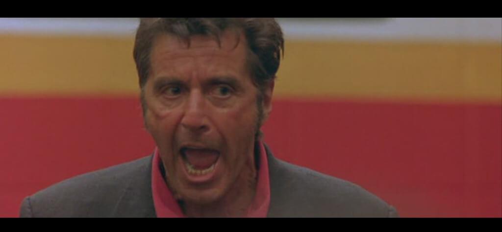 Al Pacino dando una charla de motivacion en Un Domingo Cualquiera 1999