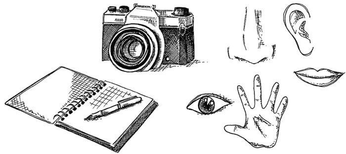 dibujo en bn de herramientas de trabajo en etnografia